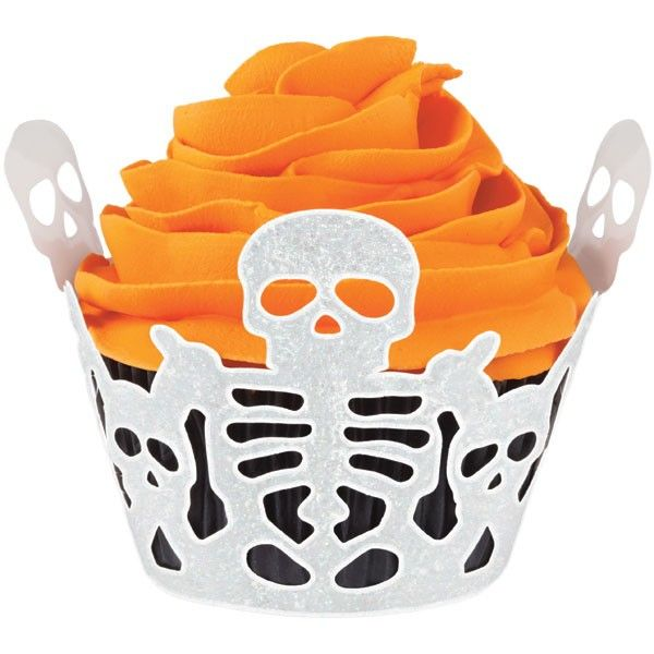 Avvolgi cupcake  scheletri glitterati HALLOWEEN  Wilton 18 PZ