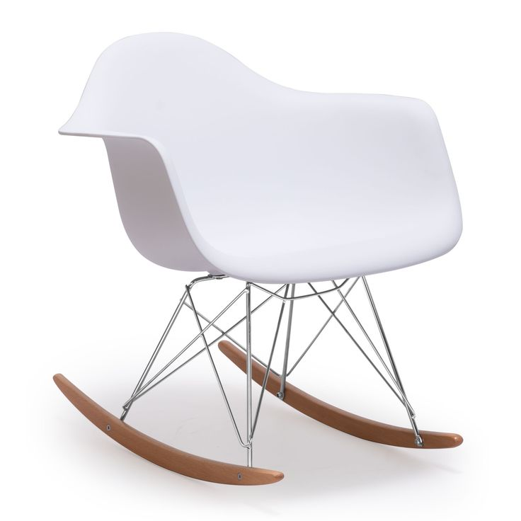 Add a touch of mid-century modern style to your home decor with this avant-garde Rocket Chair. This chair features a clean molded white seat with steel legs and a wooden rocking base for durable and comfortable seating.
