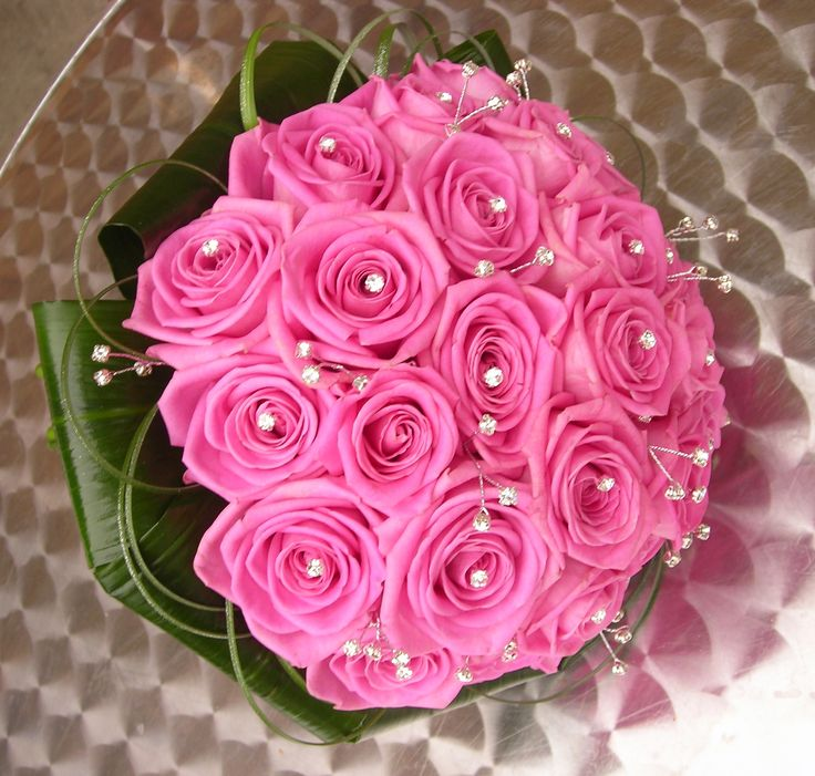 Pink Aqua rose and diamante bouquet by Orchard Designs