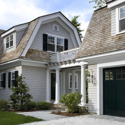 Light grey cape cod with white trim black shutters and for Cape cod exterior