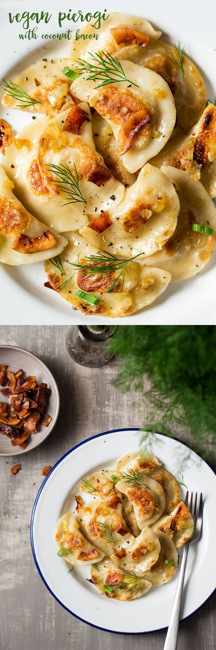#vegan #pierogi with #coconutbacon is a #plantbased version of this #Polish #classic. Perfect #comfortfood for cold #winter weather. #recipe #recipes #polishfood #coconut #veganbacon #crueltyfree #vegetarian #entree #dinner #dumplings #pierogis