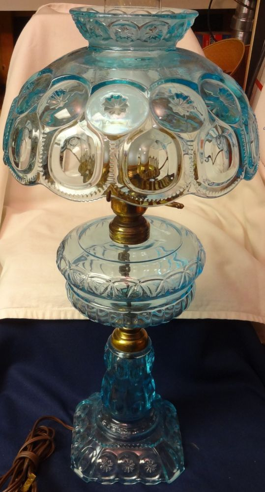 """Moon and Star Blue Electric Lamp  24"""" L G Wright Glass Company  