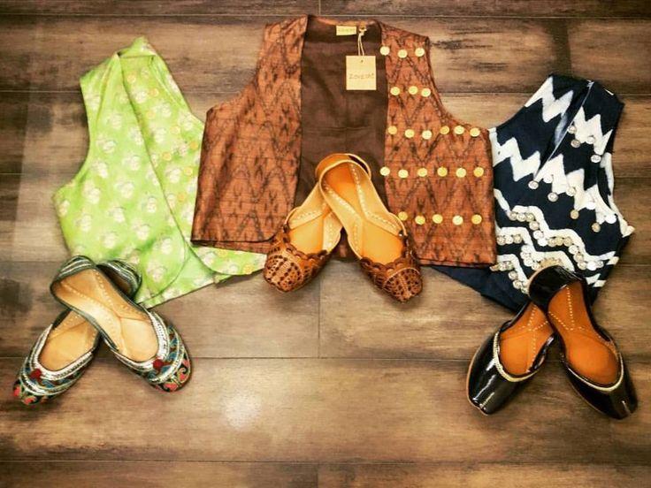 Match it up with Zoyashi's Short Jackets and Juttis & #RockThisLookWithZoyashi For more, log onto: www.zoyashi.com #MatchItUp #With #Zoyashi #ShortJackets #Juttis #Embelished #HandmadeWithLove #BanjaraLook #MadeInIndia #Sequence