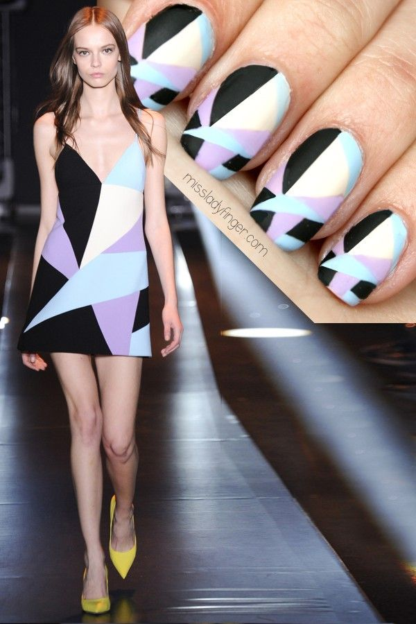 Fausto Puglisi Fall '14 #nail #nails #nailart - channel the catwalk in these abstract print nails - gorgeous design...x