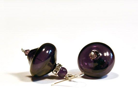 Amethyst earring February birthstone Glass earring by BeadABoo