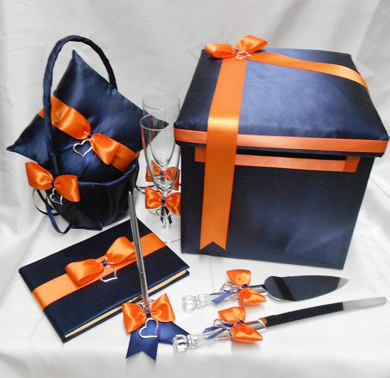 Navy Blue Orange Wedding Bridal Accessories Flower Girl Basket  Ring Pillow Guest Book Pen Card Box Cake Server Taosting Glasses Your Color