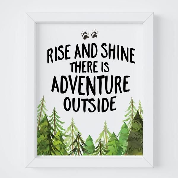 Designing a woodland inspired nursery for your little one? This print is picture perfect with an adorable saying surrounded by watercolor trees & bear tracks.