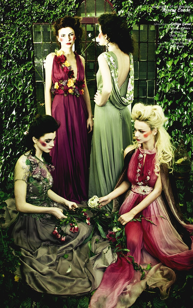Garden of Eden (Cernei Couture SS2012)  Photography & Art Direction Roxana Enache  Models: Adriana Spataru, Andreea Tudor, Iulia Dancila, Ruxandra Gheorghe  Make-up Artist: Mirela Niculai  Hairstyle: Elena Ionita