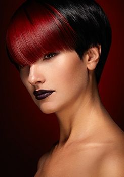 Dark red colored bangs