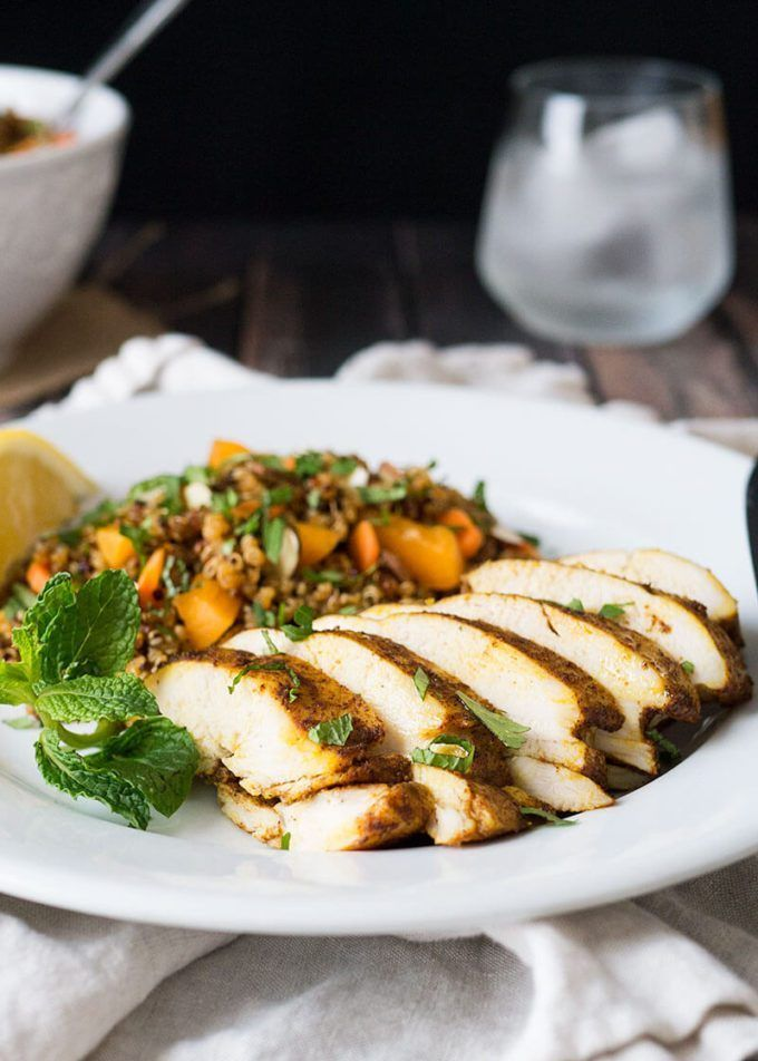 Moroccan Baked Chicken Breast + Quinoa Salad