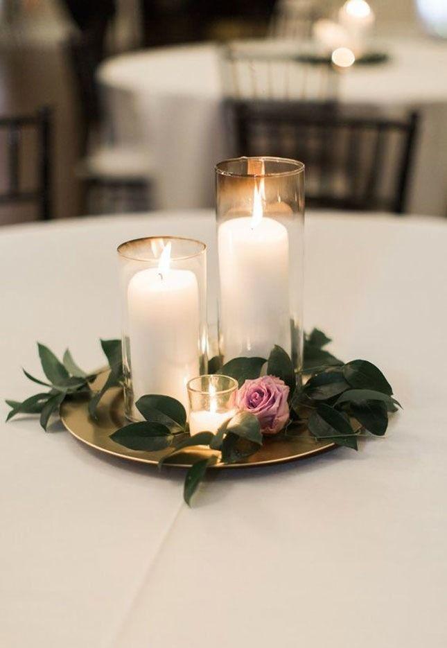 14 Gorgeous Spring Wedding Ideas You Can Totally Diy Candle Wedding Centerpieces Simple Wedding Centerpieces Wedding Decor Elegant