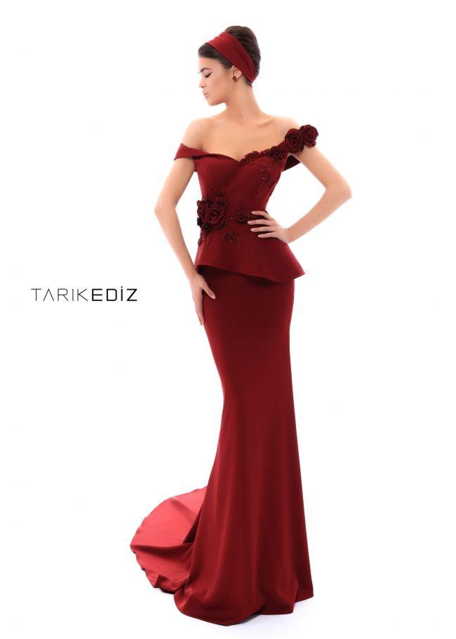 c3f648a821 Tarik Ediz- Evening 2018 Collection Style  93436 - Off shoulder matte satin  dress.
