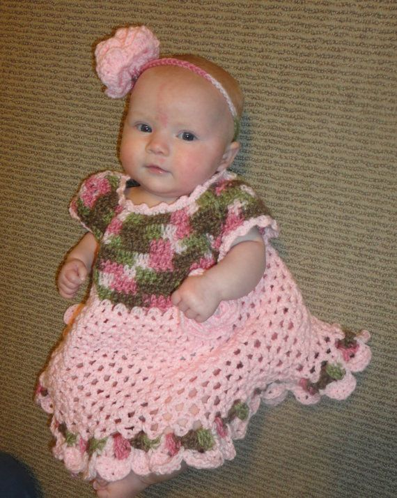SALE!  Sweet Baby Girl Pink/Camo 6 to 12 month Dress   35 off by sewcroco, $20.51
