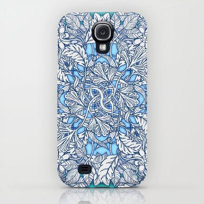 Nature Tangle - vintage botanical pattern in blue, teal & aqua iPhone & iPod Case $35.00
