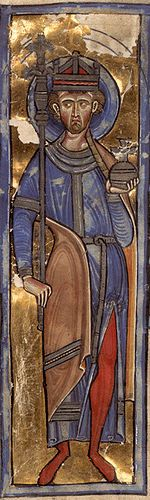 Oswald of Northumbria was King of Northumbria from 634 until his death, and was venerated as a saint in the Middle Ages. Oswald was the son of Æthelfrith of Bernicia and came to rule after spending a period in exile; after defeating the British ruler Cadwallon ap Cadfan, Oswald brought the two Northumbrian kingdoms of Bernicia and Deira once again under a single ruler, and promoted the spread of Christianity in Northumbria.