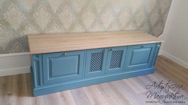 szafka RTV, RTV commode, classic RTV cabinet, wooden tv stand with oak countertop