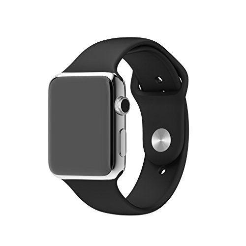 Lmeno 42mm Apple Watch Uhrenarmband Uhrband TPU Silikon Armband Replacement Strap Band Uhr Zubehör für Apple iWatch & Sport & Edition Alle Models - Schwarz - http://uhr.haus/lmeno/42mm-lmeno-38mm-metall-edelstahl-uhrenarmband-e-f
