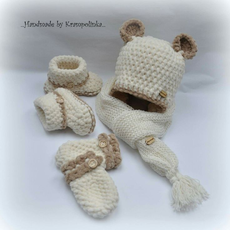 Baby set with beanie with ears booties and mitts