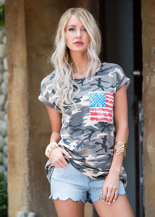 Camo Tee Shirt With Flag Pocket, Restock, Top, Cap Sleeve Top, Camo Top, Rolled Up Sleeve Top, American Flag Top, Cute, Fashion, Online Boutique