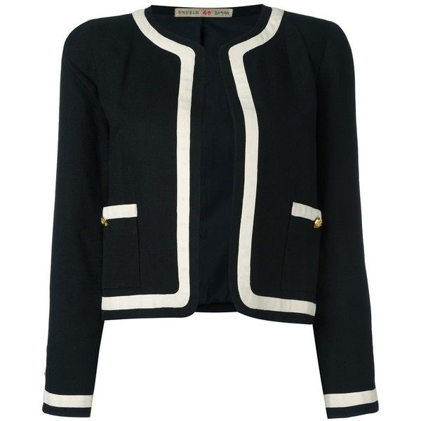 Chanel Vintage contrast stripe jacket (£935) ❤ liked on Polyvore featuring outerwear, jackets, chanel, black, long sleeve jacket, button jacket, pattern jacket, striped jacket and stripe jacket