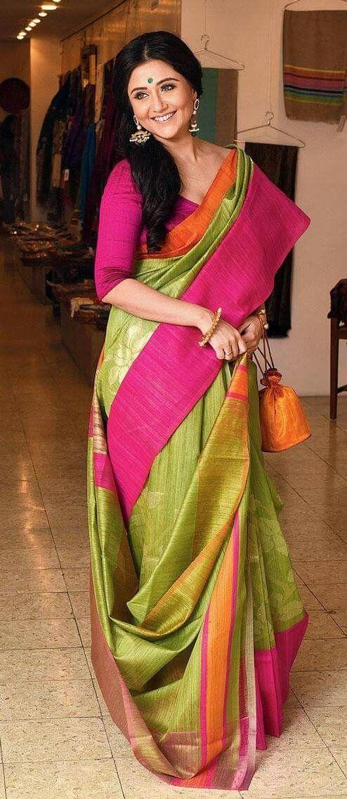Mix of vibrant colors in a silk sari