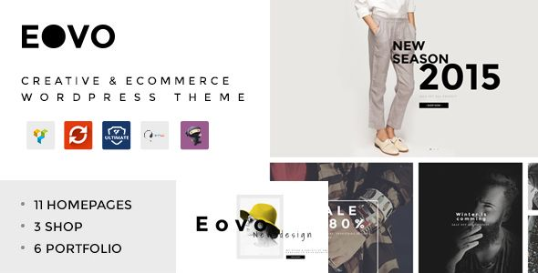 EOVO - Creative & eCommerce WordPress Theme EOVO – Creative & eCommerce WordPress Theme is designed with stylish, modern & clean concept in mind to bring in high aesthetic for a creative website or eCommerce website. It's developed with 8 layouts for creative template and 3 layouts for eCommerce template. So, this template is easy to suit with any types of Portfolio, Creative, Corporate, Design studio, Fashions, Blog, Shopping and more…