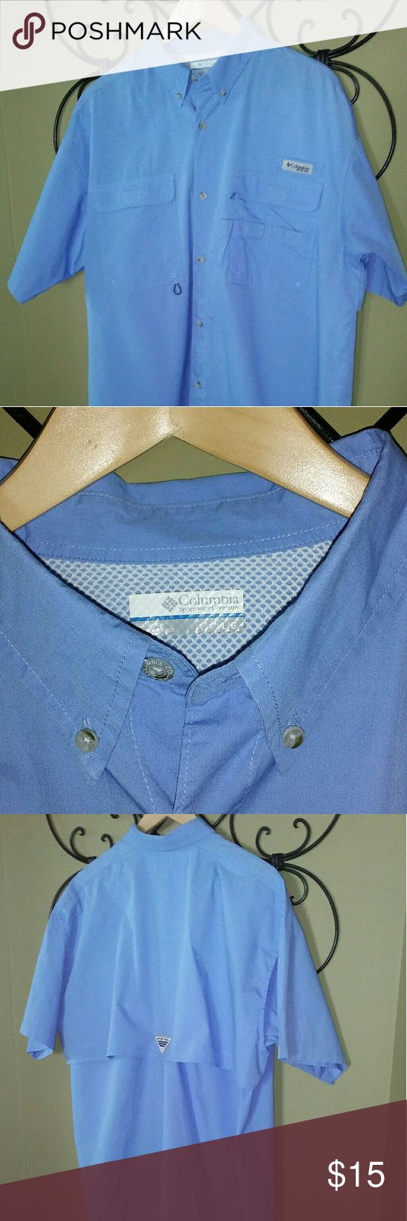 COLUMBIA PFG SHIRT NWOT Re-Poshing  Purchased NWOT for hubby but it is to large 🙁 Seems Columbia shirts run a little large and my husband prefers his shirts a little tighter Fits a true LARGE a little baggy....if you prefer a tighter fit then it will be perfect for an XLARGE Gorgeous sky blue color Vented back yoke Short sleeve P&SFH Columbia Shirts