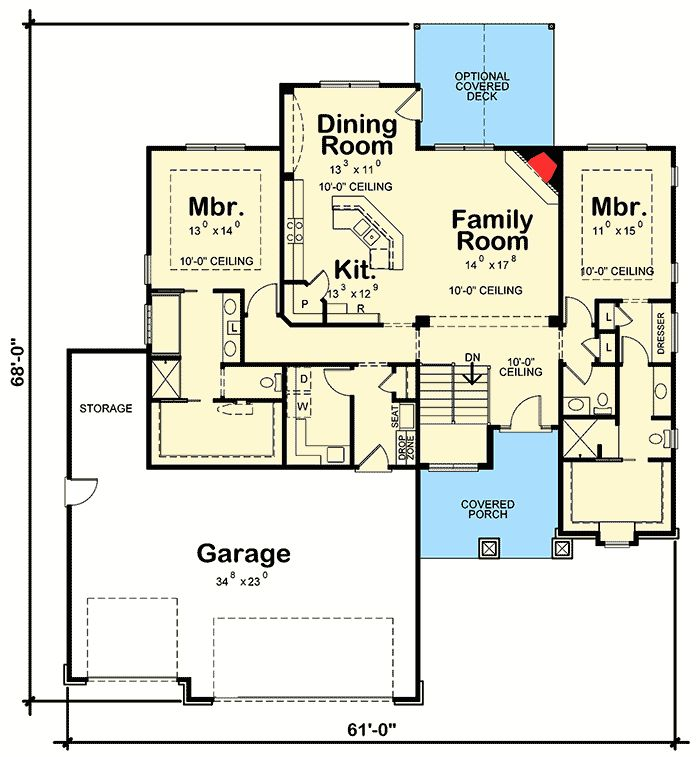 2245 best home design images on pinterest acadian house for Ranch house plans with 2 master suites