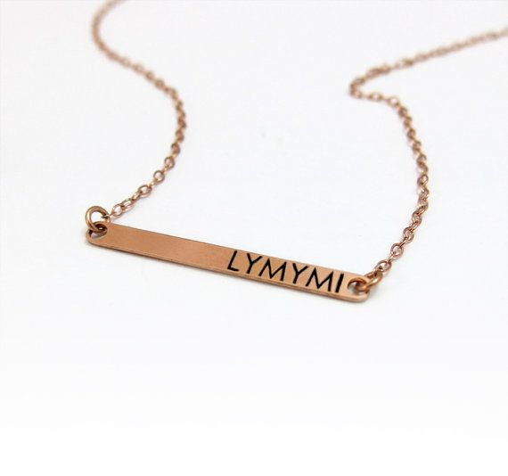 customized name bar necklace personalized rose gold. Black Bedroom Furniture Sets. Home Design Ideas