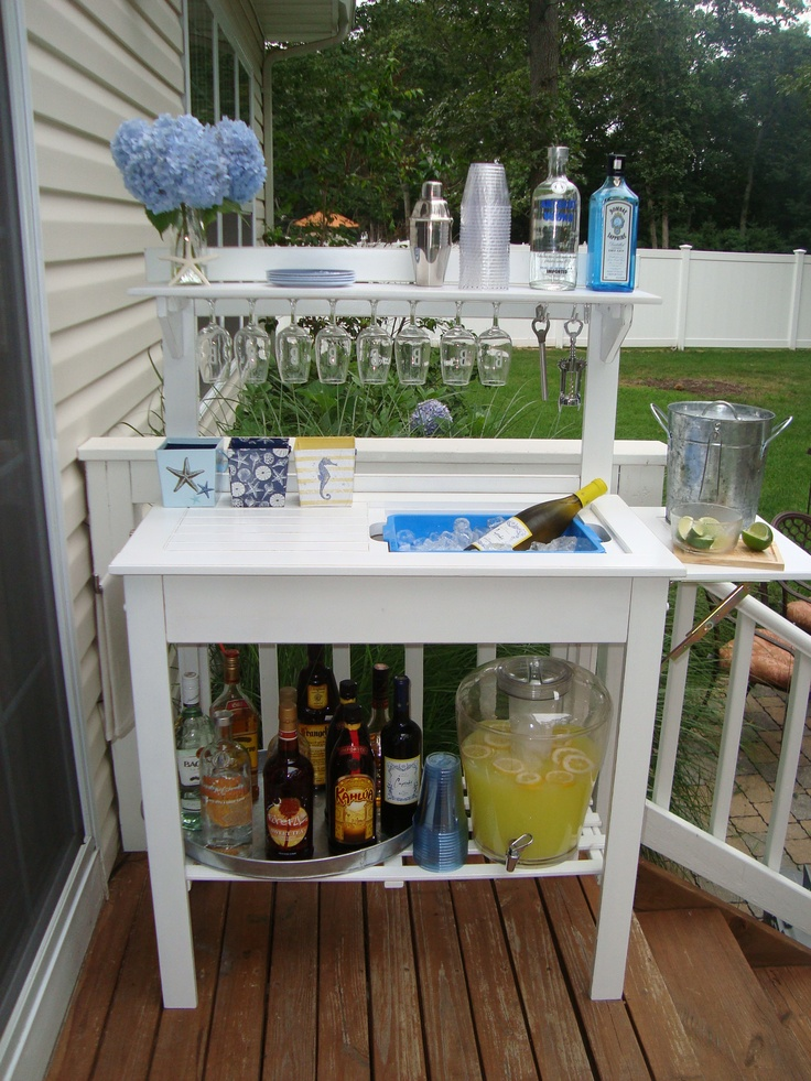 World Market Potting Bench Turned Bar...just Added Mirror Trim To Hang Wine