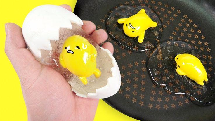 DIY How To Make Gudetama Egg Clear Slime | Japanese Cute Eggs Toys Slime...