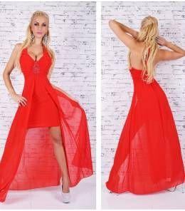 Κομψό μίνι φόρεμα με ουρά-red corall