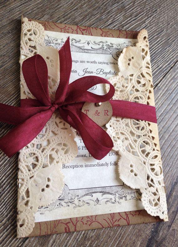 Rojo rústico cordón de la boda invitación boda por ScrappySeahorse