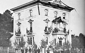 Bank of Upper Canada in 1860 at the time of the visit of the Prince of Wales - located at the corner of John and Augusta Streets.