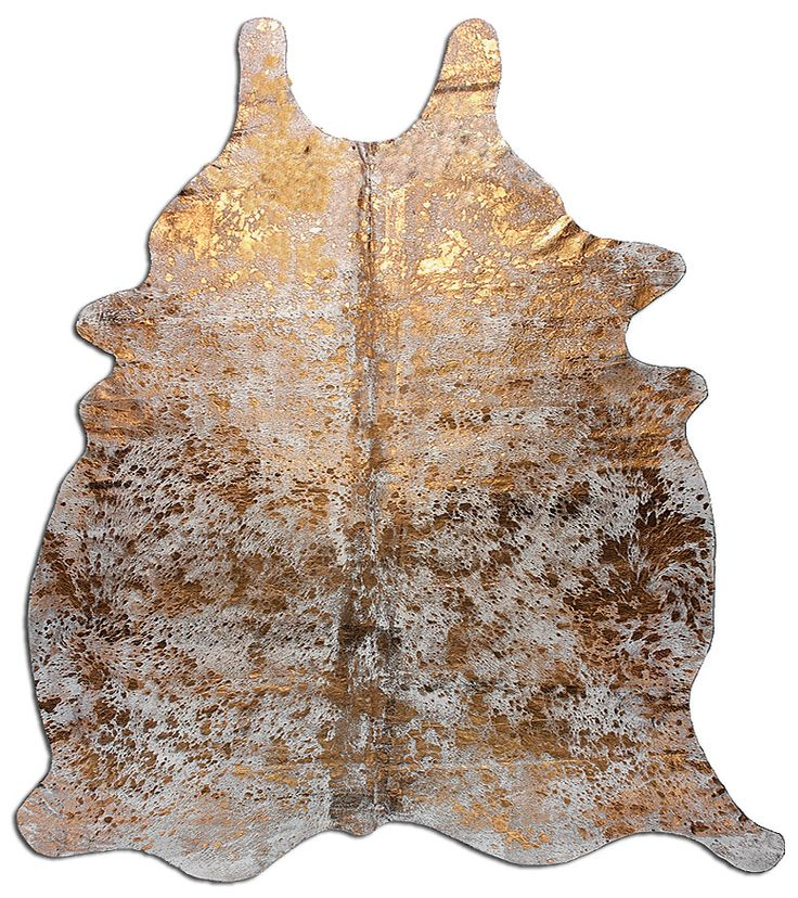 Metallic Cowhide Rug in Gold for entryway