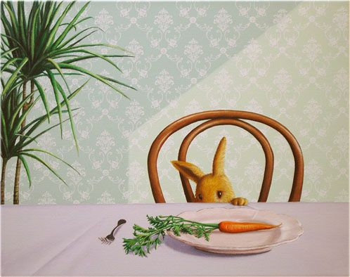 Carrot on plate by Rieko Woodford-Robinson