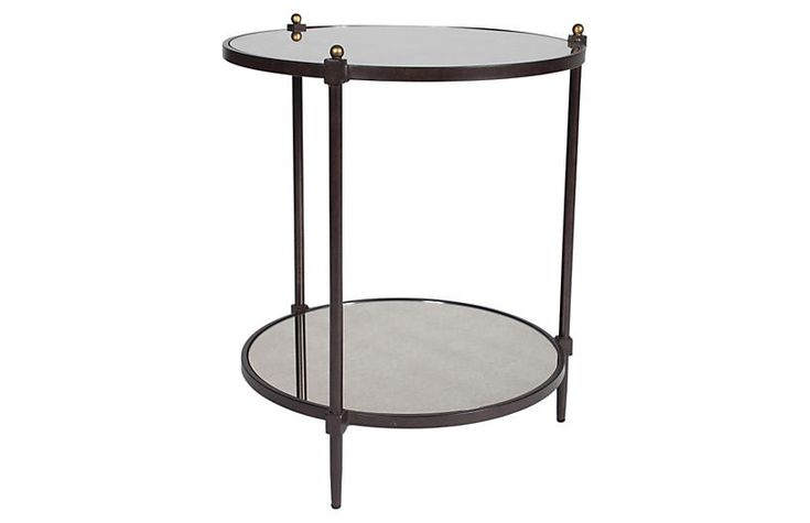 Nina Mirrored Side Table, 27h 22 Bronze/Gold Now: $449.00 							Was: $625.00