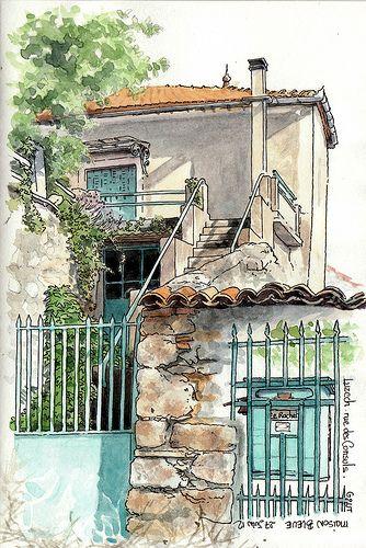 .. maison bleue ... Le Rocher | Catherine Gout