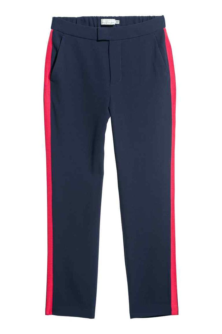 Trousers with side stripes - Dark blue/Red - Ladies | H&M GB