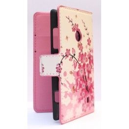 Lumia 520 vaaleanpunaiset kukat lompakkosuojakotelo.