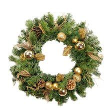 """24"""" Pre-Decorated Gold Pine Cone Apple and Ball Ornament Artificial Christmas Wreath, Unlit"""