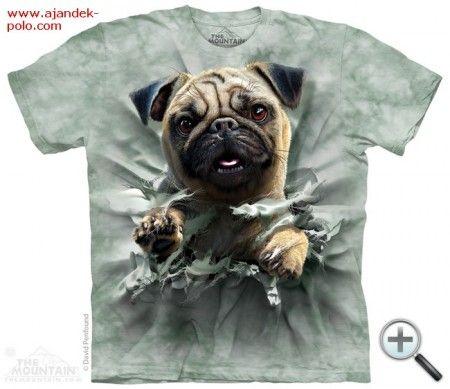 Women's or men's t-shirt pug breakthrough, cotton, Animal Print graphic tee