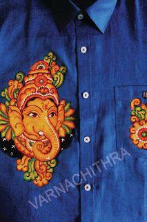 Varnachithra sarees shirts designer sarees pinterest for Aithihya mural painting fabrics