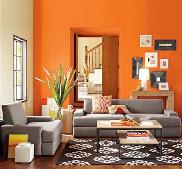 Attractive Orange Living Room Neutralizing Color Scheme With Blue Gray And Brown And  White/black Accents. Part 31