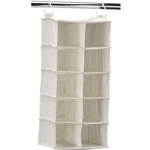 Hanging Closet Shoe Organizer Is A Canvas Organizier With Two Rows Of Five  Bins For All Your Shoes. It Hands On A Standard Closet Rod.