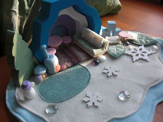 Waldorf snow cave with gnome/polar animal furniture!