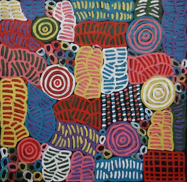 Betty Mbitjana painting of Awelye Body Painting, 61x61 cm     #AboriginalArt