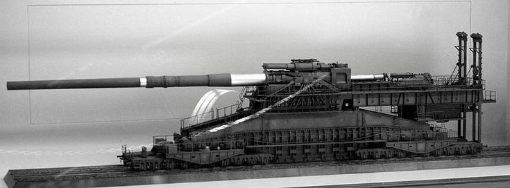 Schwerer-Gustav (or Dora) - an 800mm railway cannon. Needless to say, that is a very big gun. The image is a model.