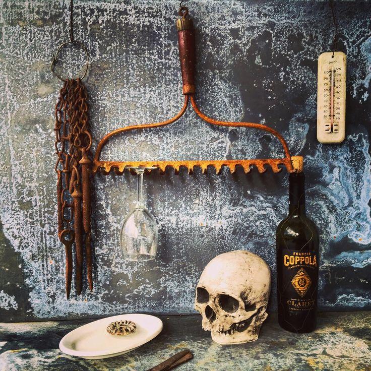 Wine Glass Rack / Rake Head / Wine Glass Rack / Jewelry Display by assemblage333 on Etsy