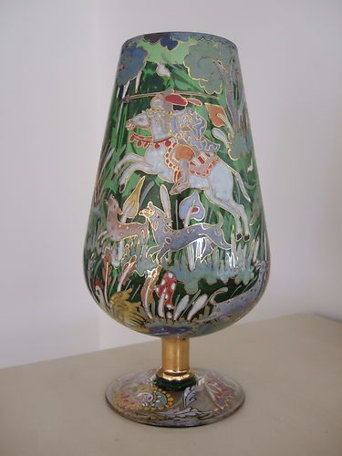 Have one to sell? Sell it yourself Superb Signed ROYO Spanish ENAMELLED art glass GOBLET VASE, Fairy tale, knights